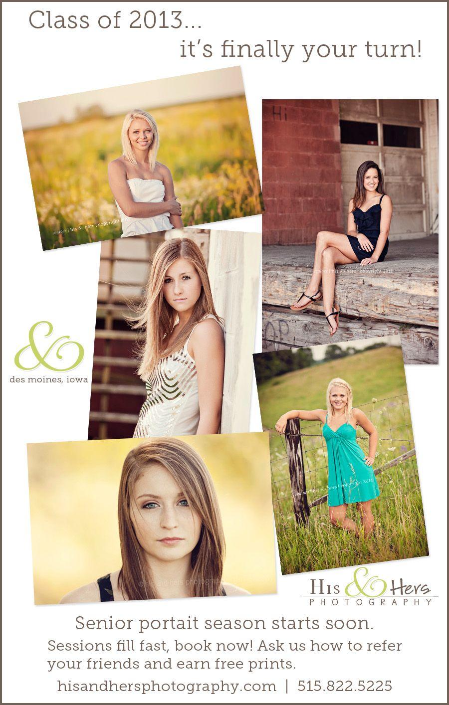High School Seniors, Class of 2013 – Time for Senior Portraits!