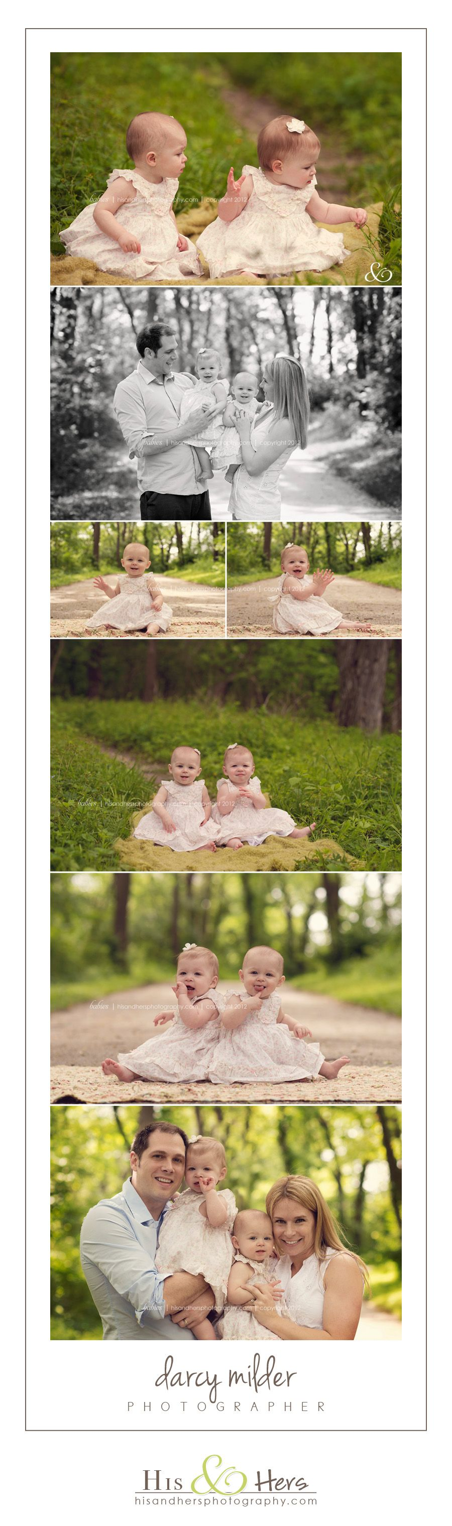 twins 1 year old portraits iowa baby family child photographer | Darcy Milder | His & Hers